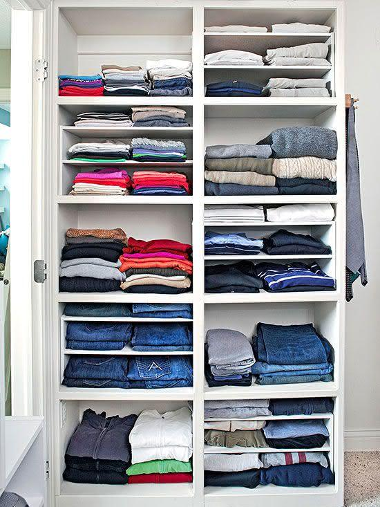 Organize each shelf by type of clothing