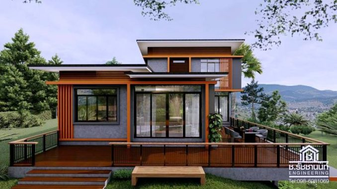Two Story Modern Style House Design With Spacious Deck
