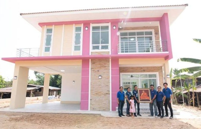 pink inspired two storey house