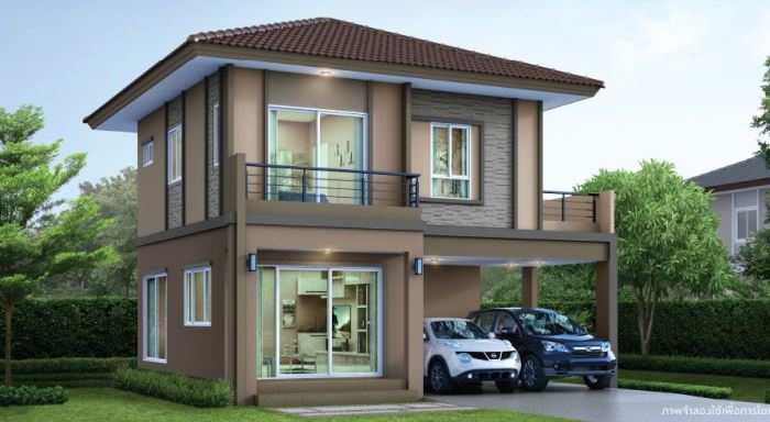 Two Storey House Plan With Three Bedrooms And Two Bathrooms House And Decors