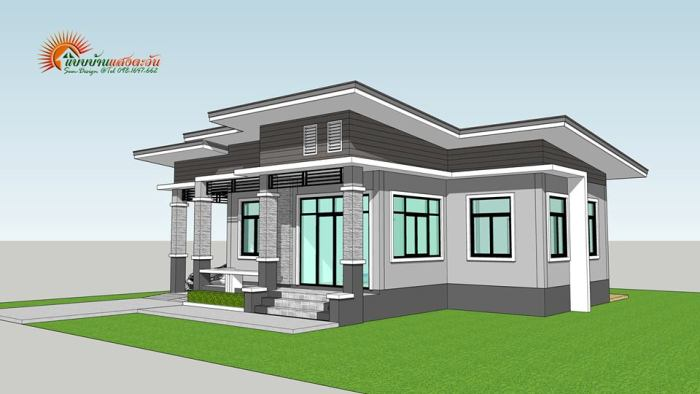 Modern Single Story Bungalow House With Three Bedrooms