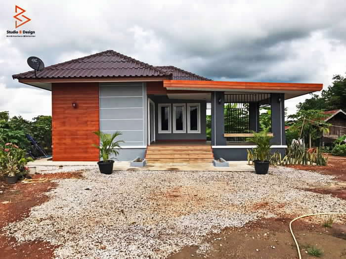 Contemporary Style One Bedroom Single Story House With Open Terrace House And Decors