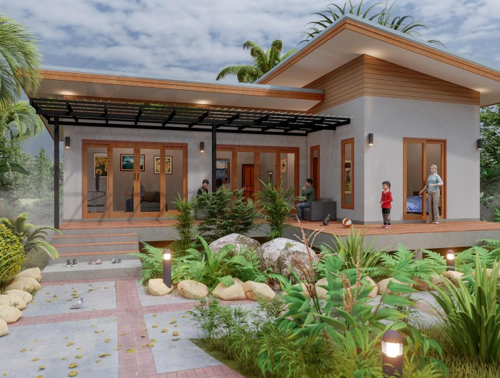 Affordable Two Bedroom Modern Bungalow Thai Design House