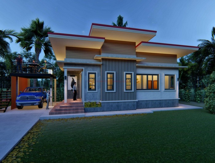 Modern Bungalow With Two Bedrooms And Detached Balcony And Carport House And Decors