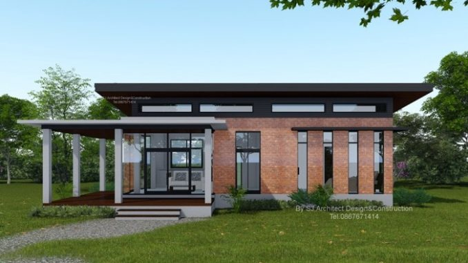 Low-cost Modern Two-bedroom House Design with L-shape ...