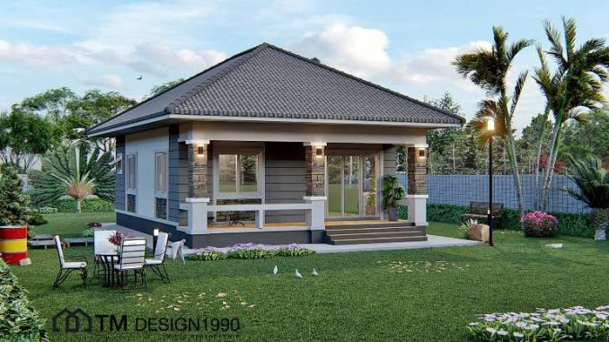 Amazing Two Bedroom Bungalow With Pyramid Hip Roof House And Decors